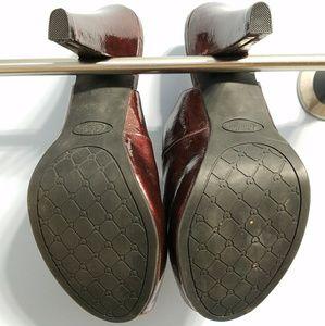 Candie's Shoes - Candies Burgendy/wine Peep Toe Slingback Pumps